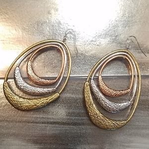 Tri-Color Textured Drop Earrings